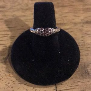 Silver Heart and Red Crystal Ring